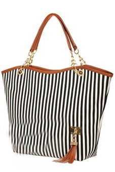Women's Stripes Snap Candid Tote Bag (Black) - picture 2