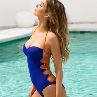 Womens Swimsuit Swimwear One-Piece Siamese Solid Color Bikini Sets - intl Price Philippines