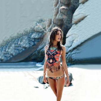Womens Swimsuit Swimwear Two-Piece Split Ethnic Style Tassel BikiniSets - 2