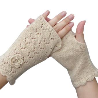 Women's Warm Winter Gloves Mittens Beige - Intl