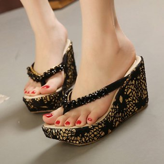 Womens Wedge PU Bohemian Sandals with Crystal Black - 4