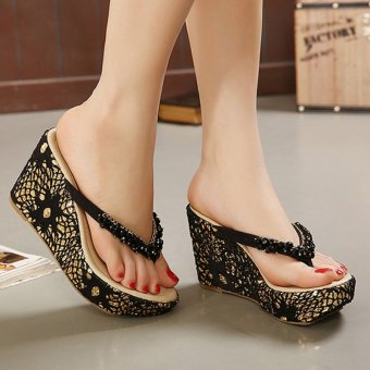 Womens Wedge PU Bohemian Sandals with Crystal Black - 5
