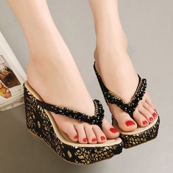 Womens Wedge PU Bohemian Sandals with Crystal Black - 2