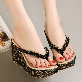 Womens Wedge PU Bohemian Sandals with Crystal Black