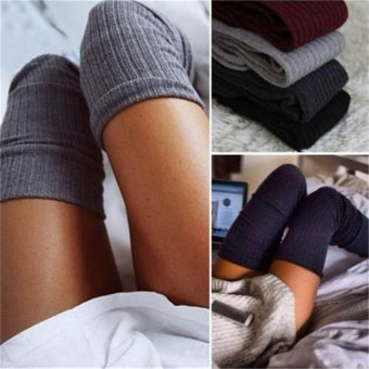 Womens Winter Cable Knit Over Knee Long Boots Thigh High Warm SocksLeggings Black - intl