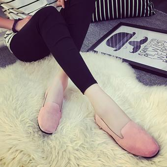 Wondergirls Shallow mouth round flat with frosted velvet surface single shoes Pink - intl - 3