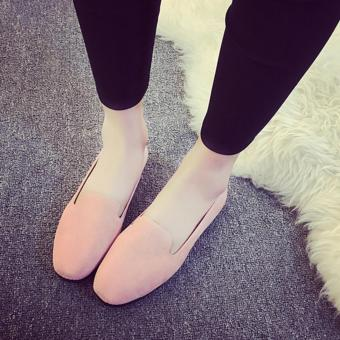 Wondergirls Shallow mouth round flat with frosted velvet surface single shoes Pink - intl