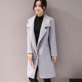 Woolen Jacket Women in the long section of the coat female autumnwinter new Korean students thickening Slim jacket (Gray) - intl