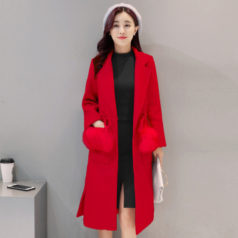 Woolen New style mid-length female jacket coat (Red)