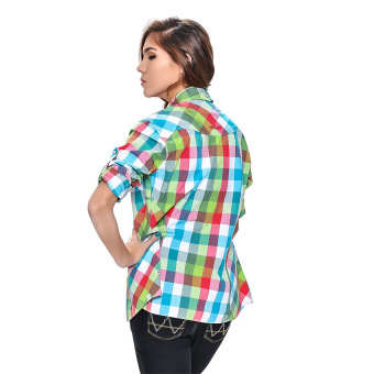 Wrangler Ladies' Checkered Long Sleeves Shirt (Lapis) - picture 4