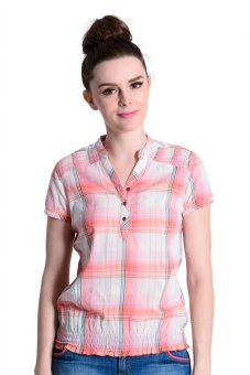 Wrangler Ladies' Checkered Short Sleeve Blouse (Orange)