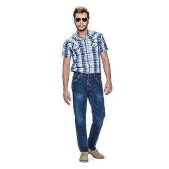 Wrangler Men's Checkered Short Sleeves Shirt (Midnight Blue)