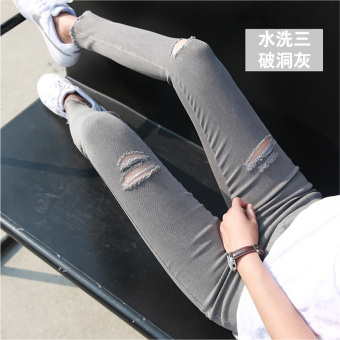 WU FEMALE OTAKU HOUSE Women's Ripped Skinny Cropped Pants - Black - Grey (Washed three with holes gray)