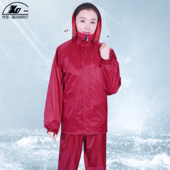 xd Oxford Cloth Motorbike Adult Separate Raincoat (Wine red color)