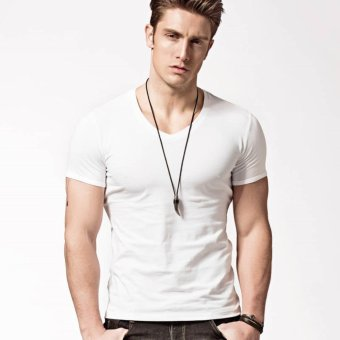 XDIAN Fasion Men V-neck White T-Shirt Pure color Cotton Short Sleeve Athletic Casual T-Shirt - intl