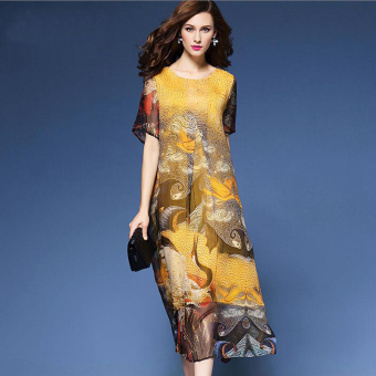 Xia sang national wind silk Plus-sized Print dress heavy pound silk dress