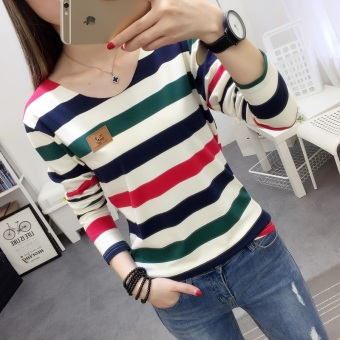 Xianyuansu Women's Loose Striped Long Sleeve T-Shirt 2 Colors (197 (blue and green striped))