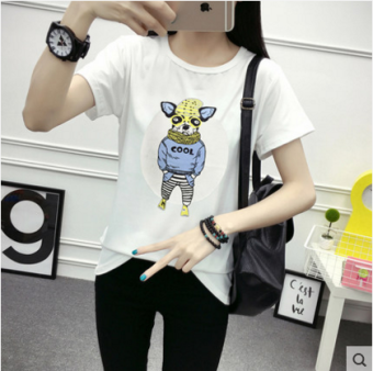 Xingjifeng Women's Stylish Print Short Sleeve T-Shirt Color Varies (White 5033)