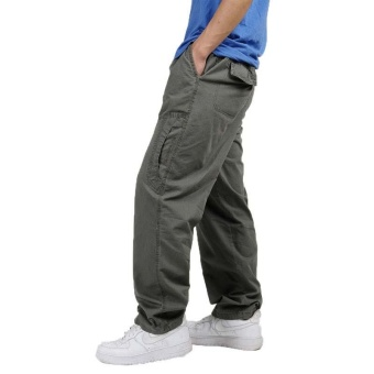 XL-6XL Spring Summer Large Plus Size Men Fashion Cargo Pants Casual Cotton Relaxed Fit Work Pant Multi Pocket Sport Outdoor Trousers - Green - intl