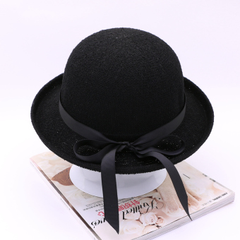 Xm039 Korean-style summer curling bucket Hat hat (Cooljie black)