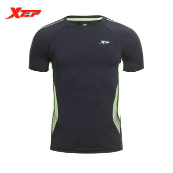 XTEP Brand Men Quick Dry Sport T Shirt Men's Outdoors Running T-shirts Fitness Tops Short Sleeves O-neck Sportswear (Black/Green)