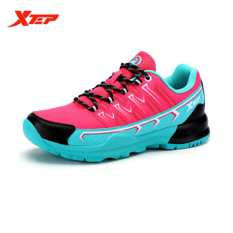 XTEP Brand Profession Leather Running Shoes Women Sports Shoes Damping Cushioning Athletic Trainning Trail Sneakers (Red/Blue) - intl