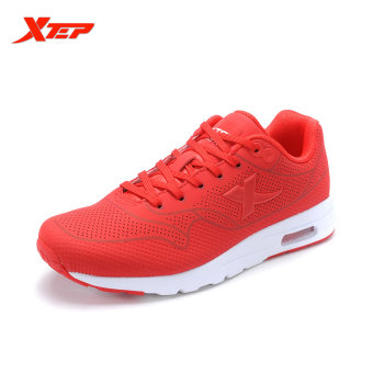 XTEP Brand Professional Running Shoes for Women Athletic Sneakers Light Leather Running Sport Shoes White Red Black (Red)