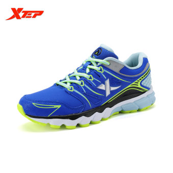XTEP Brand Professional Running Shoes for Women Light Leather Running Sports Shoes Ladies Damping Athletic Sneaker (Blue)