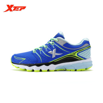 XTEP Brand Professional Running Shoes for Women Light Leather Running Sports Shoes Ladies Damping Athletic Sneaker (Blue) - 4