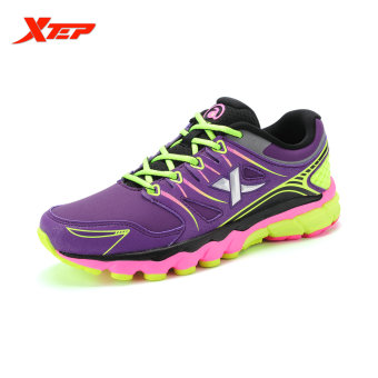 XTEP Brand Professional Running Shoes for Women Light Leather Running Sports Shoes Ladies Damping Athletic Sneaker (Purple)