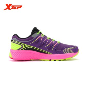 XTEP Brand Professional Running Shoes for Women Light Leather Running Sports Shoes Ladies Damping Athletic Sneaker (Purple) - 2