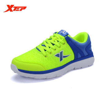 XTEP Brand Running Shoes for Men 2016 New Summer Mens Sports Shoes Running Air Mesh Sneakers Man Athletic Shoes (Green/Blue)