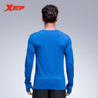 XTEP Long Sleeve Running T-shirt for Men O-neck Breathable Sports Jerseys Quick Dry Compression Fitness Men's Shirt (Blue) - intl - 5