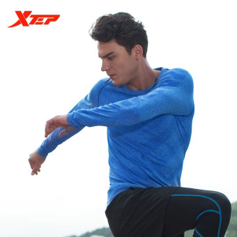 XTEP Long Sleeve Running T-shirt for Men O-neck Breathable Sports Jerseys Quick Dry Compression Fitness Men's Shirt (Blue) - intl - 2