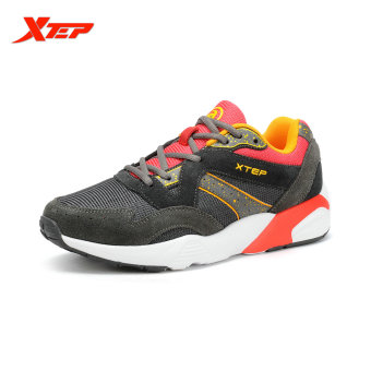 XTEP Men Running Shoes Man Sport 2016 Breathable Men's Trainers Sneakers Brand Running Original Sports Sneakers (Grey)