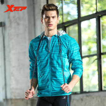 XTEP Mens Sport Jacket Zipper Hooded Athletic Suits For Men Running T Shirt Fitness Quick Dry Sportswear Clothing (Blue) - intl