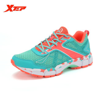 XTEP Summer Running Shoes for Women Brand 2016 Sports Shoes Women's Shoes Sneakers Big Size Ladies Breathable Shoes (Red/Green)