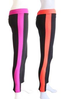 Yabyab Store Work Out Leggings Set of 2 (Purple/Orange)