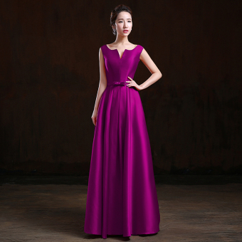 Yarn red New style Slim fit dress wedding dress (Purple long) (Purple long)