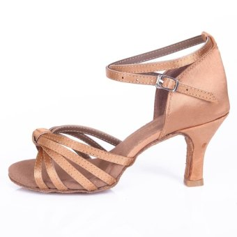 Yashion 217 Women Satin Ballroom Salsa Latin Dance Shoes (Beige)- Intl