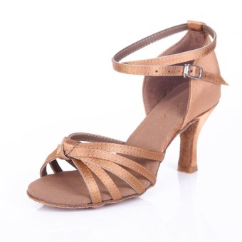 Yashion 217 Women Satin Ballroom Salsa Latin Dance Shoes (Beige)- Intl - 2