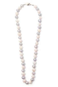 Yassy Pearls FWPW/G9 Necklace (White/Grey)