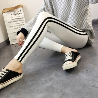 Yayi cotton white New style outerwear skinny pants leggings (Black)