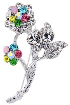 Yazilind Jewelry Pretty Women Beauty Silver Plated Full Colorful Crystal Flower Butterfly Cute Brooches and Pins