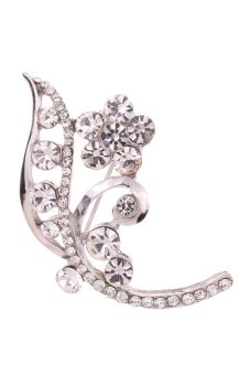 Yazilind Silver Plated Full Crystal Inlay Flower Shape Plated Brooches and Pins for Women