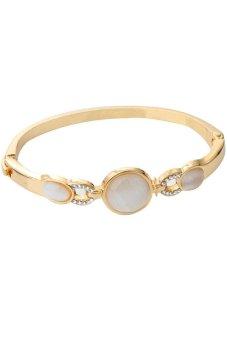 Yazilind Vintage Wedding Opal Rhinestone Round Bracelet (Gold)
