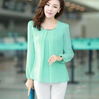 YBC Lady Long-sleeved Straight Chiffon Blouses Shirts Unlined UpperGarment Green - intl - 4