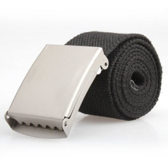 YBC Men Web Military Style Canvas Belt With Metal Buckle Black -intl