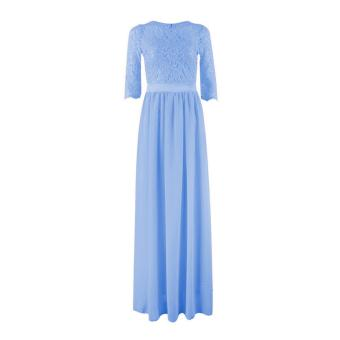 YBC Women Elegant Long Dress Long Sleeve Formal Evening Party Gown Blue - intl
