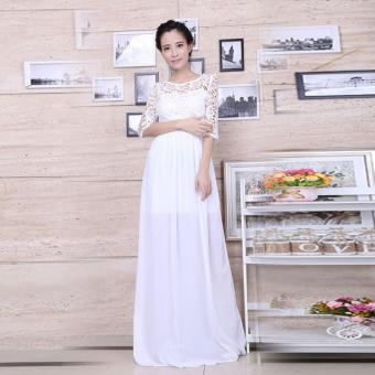 YBC Women Elegant Long Dress Long Sleeve Formal Evening Party Gown White - intl